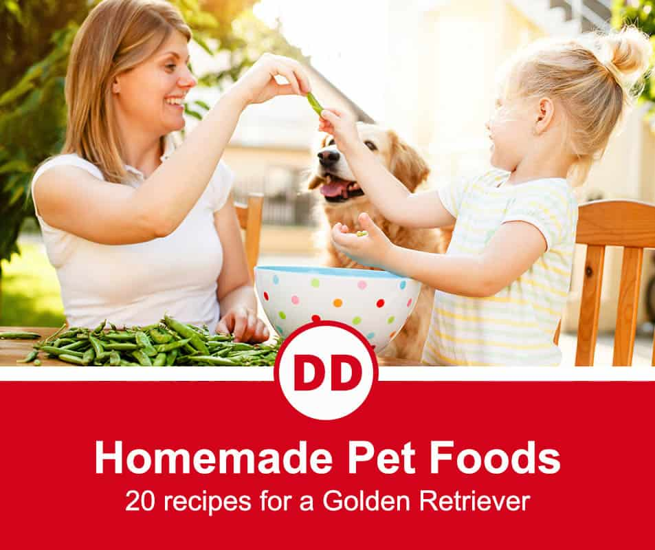 mother and child making food for their golden retriever in the garden